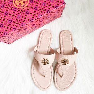 TORY BURCH Jolie Flat Thong Sandas in Pink/Gold